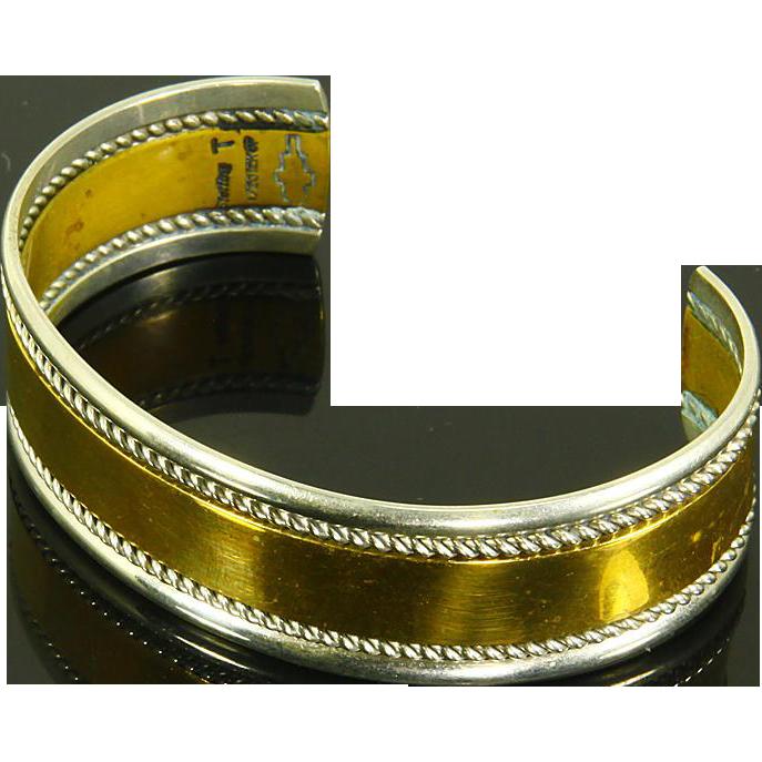 Native American Signed Cuff Bracelet Sterling Silver