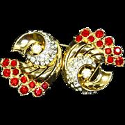 Coro Duette 'Jeweled Comet' Pin/Clip – 1948 – Adolph Katz – Book Piece
