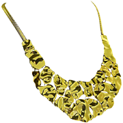 Graziano Signed Gold Tone Bib Necklace – Runway Worthy