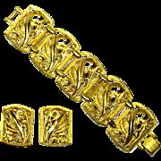 Judy Lee signed Art Nouveau style Panel Bracelet & Earrings