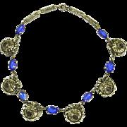 Vintage Art Deco Open Backed Faceted Blue Crystal & Repoussé Rose Necklace