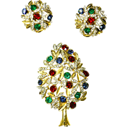 SPHINX of England Poinsettia Topiary Christmas Tree Pin & Earrings – Book Piece