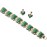 Mexican Early Sterling Silver Carved Green Onyx Aztec/Mayan Tribal Faces – Bracelet & Earrings