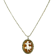Vintage Carved Shell Cameo Nymph Pendant – Marcasites & .800 Silver – 1920s