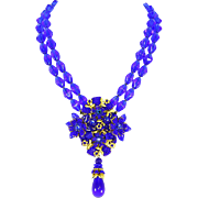 Stanley Hagler Ian St. Gielar Signed Royal Blue Bead & Gilt Necklace