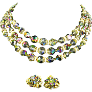 Vendome Three Strand Carnival Glass Bead Necklace & Earrings-Coro