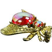 Vintage Bug/Bee Winged Insect Pin – Dragon's Breath/Jelly Opal Belly