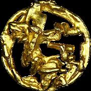 Hattie Carnegie Sculptural Pin – Gold Tone – Modernist – 1948/1955