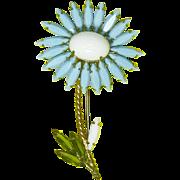 Schreiner Blue Flower/Daisy Pin – Unsigned
