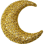 Ciner signed Crescent Moon Brooch – Large – Rhinestone Encrusted