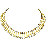 Vintage Egyptian Revival Rhinestone Dangle Necklace