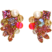 Eugene Rose Montee & Pink Rhinestone Earrings – Rare- 1950s