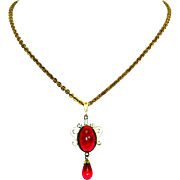 Van Dell Red Poured Glass Cabochon Necklace – 1/20 12K Gold Filled