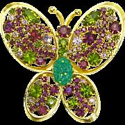 Rhinestone Butterfly Brooch – Huge – Olive Green & Purple – Designer Quality