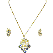 Delizza & Elster Juliana Cha-Cha Crystal Bead Dangle & Rhinestone Pin/Necklace & Earrings