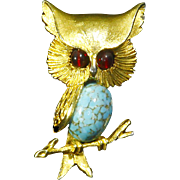 Sphinx Made In England Signed Owl Pin