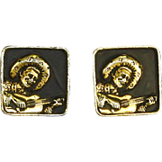 Singing Cowboy Cufflinks – Guitar – 1950s – Bold & Unusual