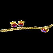 Vintage Emmons Double Cabochon Dragon's Breath Glass Fob Charm Bracelet & Cufflinks – 1950s