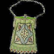 Whiting and Davis Enamel Mesh Bag – Art Deco – Enamel Frame – 1928