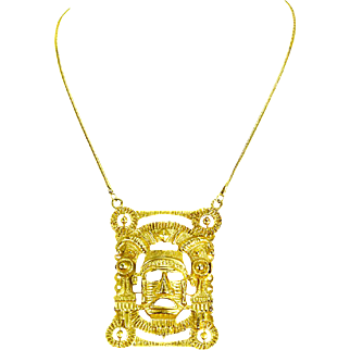 Napier Gold Plate Tribal Mask Pendant/Necklace – Aztec/Mayan – 1960s