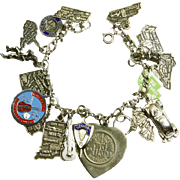 Sterling Silver Charm Bracelet – 21 Charms – States, VW, Soldier – late 60s – early 70s