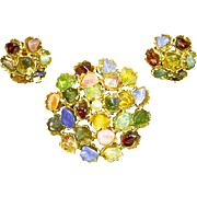 Swoboda Multi-Gem & Pearl Domed Brooch & Earrings – Unsigned pre 1966