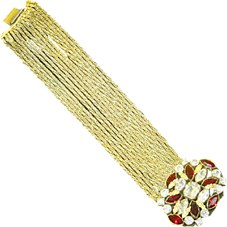 Czechoslovakia 1930s 15 Strand Bracelet – Jeweled Centerpiece