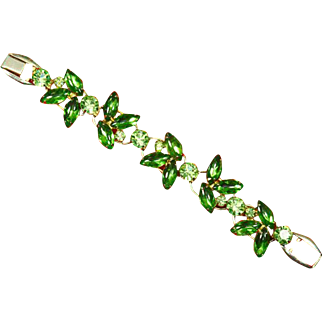 Delizza & Elster Juliana Brilliant Green Rhinestone Five Link Bracelet