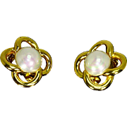Christian Dior faux Mabe Pearl 'Love Knot' Earrings