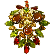 Rhinestone & Cabochon Leaf Brooch – Domed – Autumn Colors
