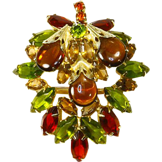 Juliana Delizza & Elster Leaf Brooch – Domed – Autumn Colors