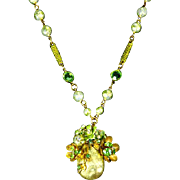 Faux Pearl and Bezel Set Crystal Floral Pendant – 1950s