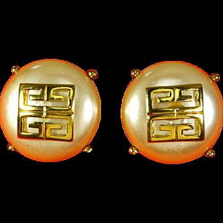 Hubert de Givenchy Gold plated 'G' Logo faux Pearl Earrings