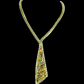Alice Caviness Asymmetrical Rhinestone Necklace – unsigned – 1960s – Modernist