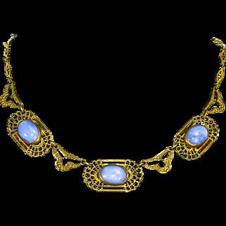 Vintage Czech Sky-Blue Art Glass Necklace – 1920s/30s