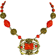 Art Deco Czech Necklace – faux Red Coral Molded Art Glass – Bird/Floral
