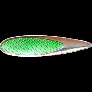 MEKA Guilloche Enamel and Sterling Silver Pin – Denmark – Mid Century Modern