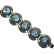 Selro Baroque faux Blue Pearl and Silver Tone Bracelet – Large And Chunky
