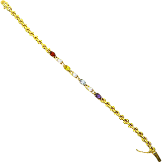 Vintage Sterling Gold Vermeil Tennis Bracelet – Semiprecious Stones