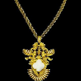 Castlecliff Larry Vrba signed Aztec/Native American Pendant/Necklace – Book Piece – 1970s