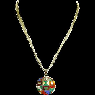 Native American .950 Silver Inlaid Multi-Stone Pendant – 10 Strand Silver Chain – Modernist Design