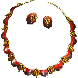 Matisse Copper and Red Enamel Necklace and Earrings – Book Piece