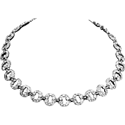 Bogoff Art Deco style Rhinestone Necklace – Signed – 1950s