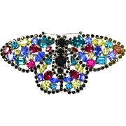Monty Don signed Butterfly Multi-Rhinestone Pin – 1980s – England