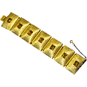 Napier Mid Century Modern Panel Bracelet – faux Topaz – early 1950s