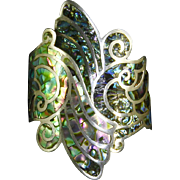 Mexico Hinged Cuff Bypass Clamper Bracelet – Sterling Silver & Abalone – pre-Eagle – signed JHP