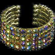 Magnificent Rhinestone Cuff Bracelet – Five Row – Green, Blue, Purple, Gold, Aurora Borealis