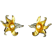 Boucher Pave Rhinestone and faux Pearl Flower Earrings – Signed & Numbered – early 60s