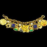 Fabulous Egyptian Revival Charm Bracelet – 14 Charms – Czech Molded Glass – faux Pearls