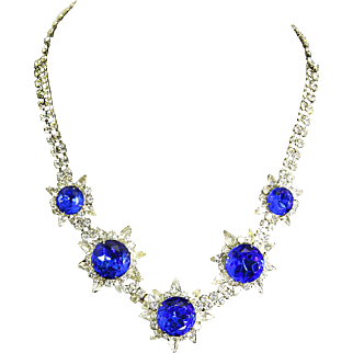 Spectacular faux Sapphire and Rhinestone Necklace